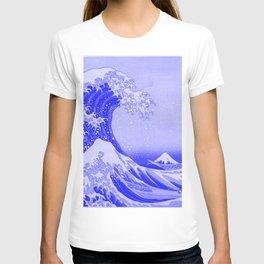 Cobalt Blue Porcelain Glaze Japanese Great Wave T-shirt