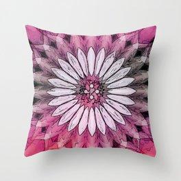 Poly Pink Daisy Kaleidoscope Throw Pillow