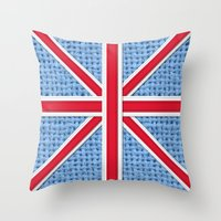 union jack Throw Pillows featuring Union Jack by Cats Hand