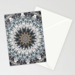 Gray, blue Mandala Stationery Cards
