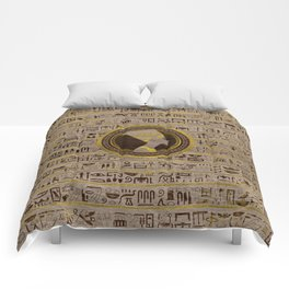 Pyrographed Golden Nefertiti on wood Comforters