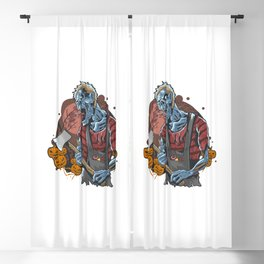 Zombie With Axe Halloween Night Party Artwork Blackout Curtain