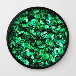 Green Scattered Sequins Wall Clock