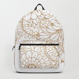 Elegant white faux gold glitter modern floral Backpack