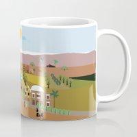 arab Mugs featuring Peaceful Arab village In the desert by Design4u Studio