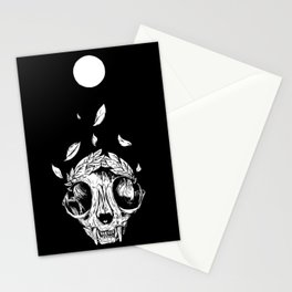The concept of winning (lucky cat skull + laurel wreath) Stationery Cards