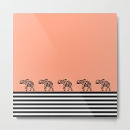 ELEPHANT & STRIPES CORAL Metal Print