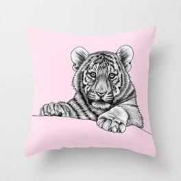 Amur tiger cub - pink Throw Pillow