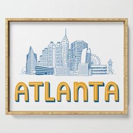 Atlanta Skyline Illustration Serving Tray