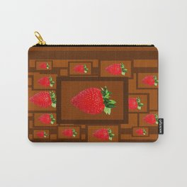 Cinnamon Spice Brown Strawberries Modern Design Carry-All Pouch