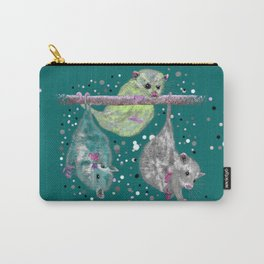 Green possum trio on a branch - Teal Carry-All Pouch