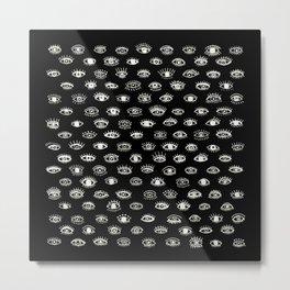 Lucky Eyes, White on Black Metal Print