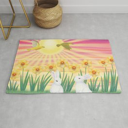 bunnies, daffodils, yellow warblers, & sunshine Rug