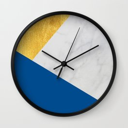 Carrara marble with gold and Pantone Lapis Blue color Wall Clock
