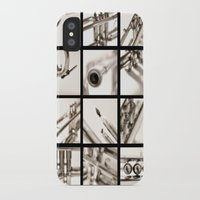 trumpet iPhone & iPod Cases featuring trumpet by laika in cosmos