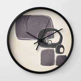 Retro Abstract Design in Charcoal Grey and Aubergine Wall Clock