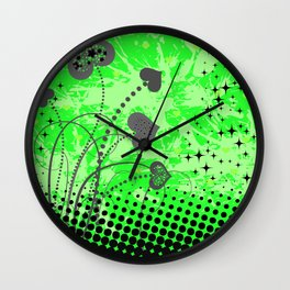 Abstract ornament with hearts Wall Clock