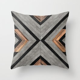 Urban Tribal Pattern No.2 - Concrete and Wood Throw Pillow