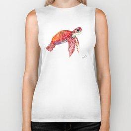 Turtle Children Animal design Red, pink Orange cute turtle Biker Tank