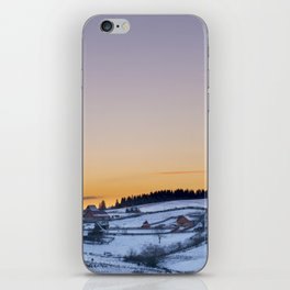 Winter Sunset over small vilage iPhone Skin
