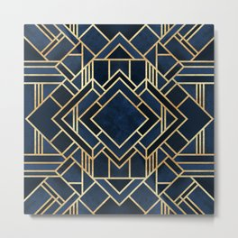 Art Deco Fancy Blue Metal Print