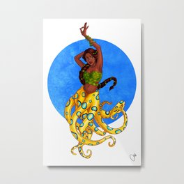 Blue Ringed Octopus Mermaid Metal Print