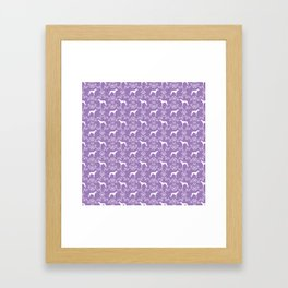 Greyhound floral silhouette purple and white minimal dog silhouette dog breed pattern Framed Art Print