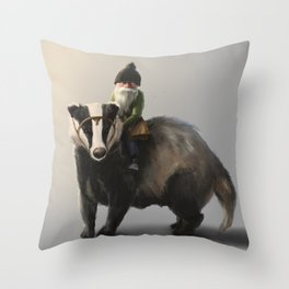 Gnome on Badger Throw Pillow