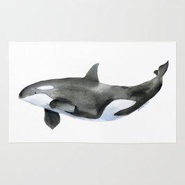 Orca Killer Whale Watercolor Rug