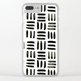 Brush and Ink Mudcloth Pattern Clear iPhone Case