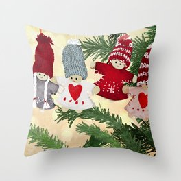 Christmas tree dolls Throw Pillow