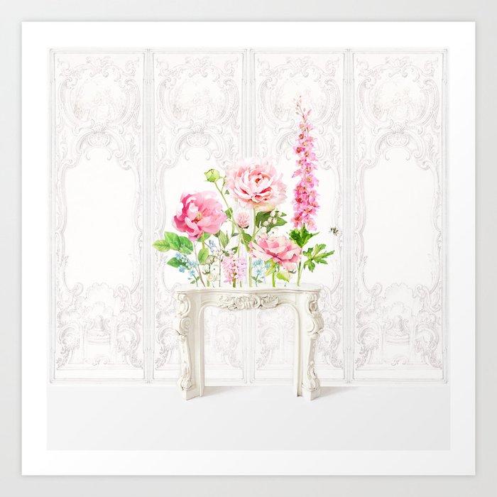 Mantlepiece wild flowers Art Print