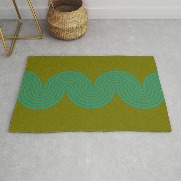 groovy minimalist pattern aqua waves on olive Rug