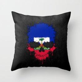 Flag of Haiti on a Chaotic Splatter Skull Throw Pillow