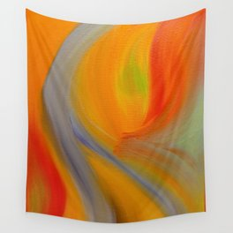 """""""Orange Blossom"""" Original oil finger painting by Monika Toth Wall Tapestry"""