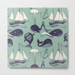Pattern with marine motifs. Yachts, funny whales, carefree sunny voyage. Metal Print