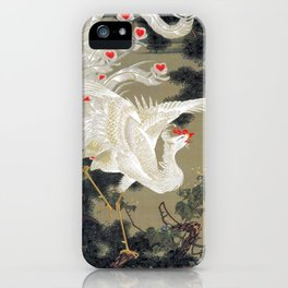 Jakuchu Phoenix with Hemp Pattern Background iPhone Case