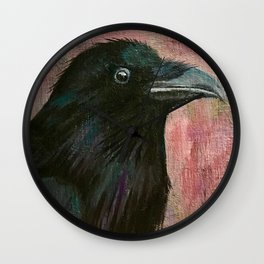 Raven rising against a pink sunset Wall Clock