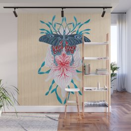 Butterfly White Orchid Tattoo on wood Wall Mural