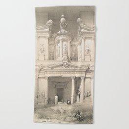 Vintage Illustration of Petra (1849) Beach Towel