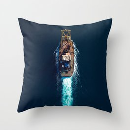 Barge Top View | Aerial Photography  Throw Pillow
