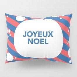 Joyeux Noel Candy Cane Snow Stripe Pillow Sham