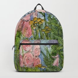 Garden Flowers Bee Blue Sky Nature Art Floral Watercolor Print Backpack