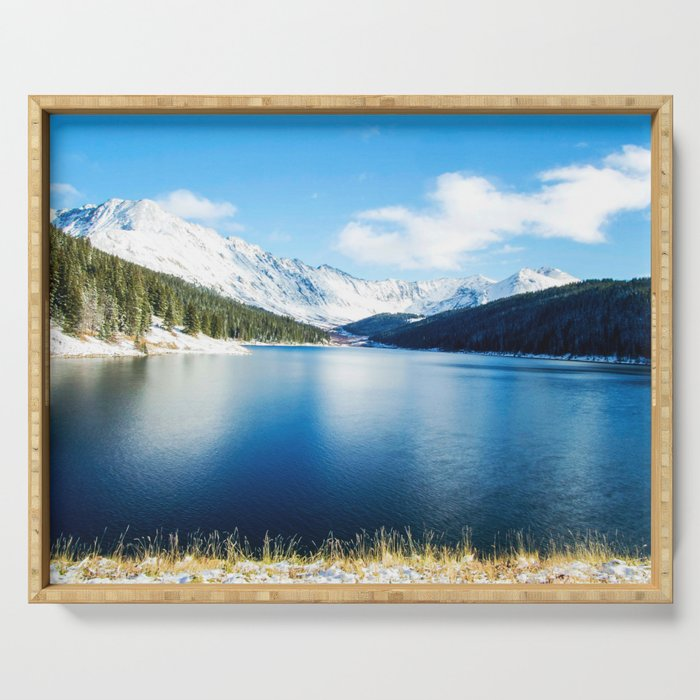 Clinton Gulch // Day Light Mountain Lake Forest Snow Peak Landscape Photography Hiking Decor Serving Tray