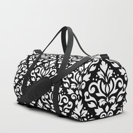 Scroll Damask Large Pattern White on Black Duffle Bag