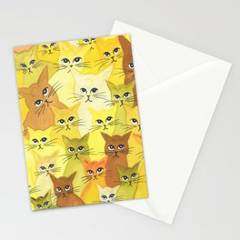 Golden Whimsical Cats Stationery Cards