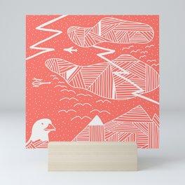 Living Coral Sky Life Stripes Mini Art Print