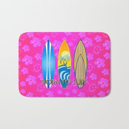 Born To Surf Pink Tropical Flowers Bath Mat