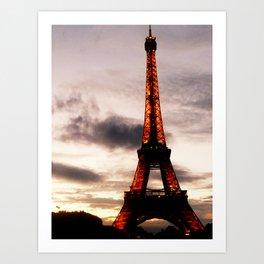 Sunset with Eiffel Tower Art Print