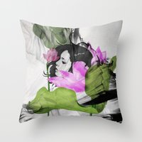 lotus flower Throw Pillows featuring Lotus by SEVENTRAPS